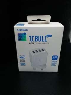 全新Momax U.BULL(ubull)Junior 4-Port USB Charger USB充電插頭叉電頭,跟單