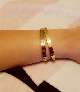 Love Bangle Gold with rhinestones