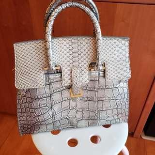 Helianthus Silver Leather + Lizard handbag
