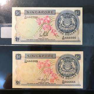 🌺 Orchid Solid 6s Pair! 1967 Singapore 🇸🇬 $1 Orchid 🌸 Series LKS & HSS With Seal, A/82 666666 & D/58 666666 Solid 6s, 2 Pcs Original UNC