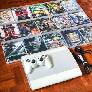 90% new PS3 500GB Super Slim white with 15 games and controller Sony PlayStation 3