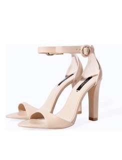 Zara Basic Nude Pink Heels Sandals