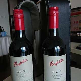 紅酒兩枝連皮盒 - Two Bottles of 2010 Penfolds RWT Shiraz Wine and Case