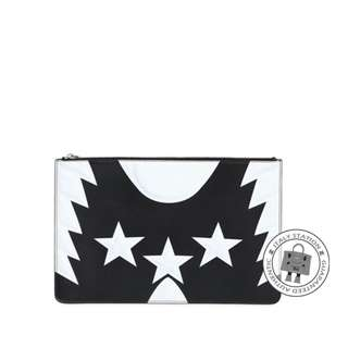 (NEW) GIVENCHY BC06351471 LARGE STARS & WINGS PRINTED LEATHER POUCH CALFSKIN POUCH, BLACK & WHITE / 004 全新 細袋 銀包 散紙包 黑色 白色