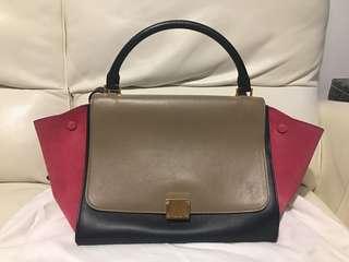 Celine Calfskin Leather Trapeze Medium Bag