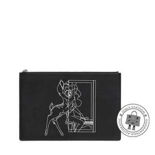 (NEW) GIVENCHY BC06345493 MEDIUM BAMBI PRINTED LEATHER POUCH CALFSKIN POUCH, BLACK / 001 全新 細袋 銀包 散紙包 黑色