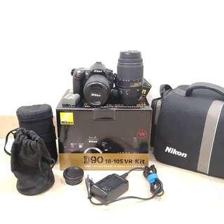 Nikon D90 + 18-105mm +55-300mm VR lens-Complete box set