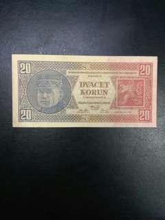 Czechslovakia 20 korun 1926 issue