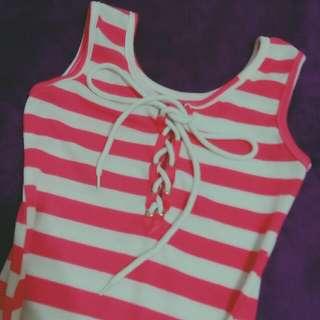 甜美 桃粉白相間 條紋 夏季 無袖 洋裝 #舊愛換新歡 海邊 泳裝外搭 貼身 窄裙 傘裙 日系