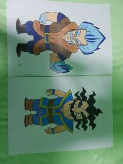 Ice wizard and Electro wizard potrait drawing