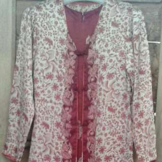 Set dress merah motif