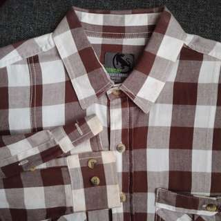 Bench Brown & White Gingham Plaid Long sleeved Button Down Top