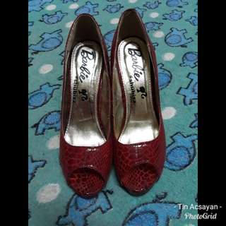Red peep toe shoes