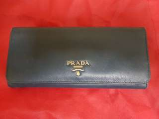 Prada dark navy long wallet