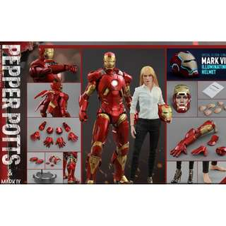 100% Brand New Special Edition Hot Toys MMS311 Iron Man 3 Pepper Potts & Mark IX 9