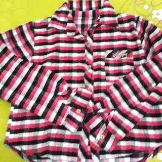Flanel pink crop top