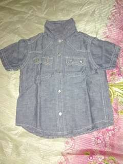 Soft denim polo (12-18 months) LIKE NEW