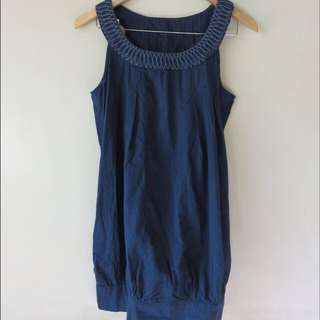 Navy Dress Embroidered Colar