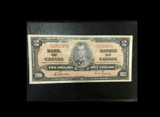 Canada 2 dollars King George 1937 issue