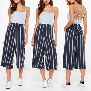 Cotton On Lauren Drapey Culottes In Amy Vertical Stripe Moonlight Blue [SOLD]