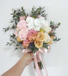 Bridal Bouquet in Rustic Pastel Theme / Pink Roses Eustomas and Matthiola
