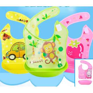 [RM 25 for 2pcs] Adjustable Plastic Waterproof Cute Cartoon Dining Baby Bib