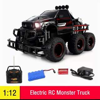 1:12 RC Car Electric RC Big Monster Truck 6-Wheel RTR Off-Road Buggy Vehicle w/Working Headlight Dual Rear Wheels Kids Boys Gift