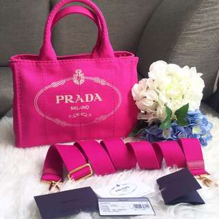 75bd67ca5ba6 Brand New Prada Canapa Small Bag in Fuchsia Pink (Fuxia