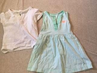 🚚 二手Gap上衣T恤 12-18m 卡特綠色無袖小洋裝12-18m
