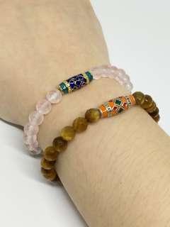 🚚 Rose Quartz & Tiger Eye Handmade Bracelet
