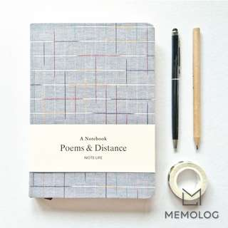 A5 Cotton Linen Fabric Blank and Lines Notebook