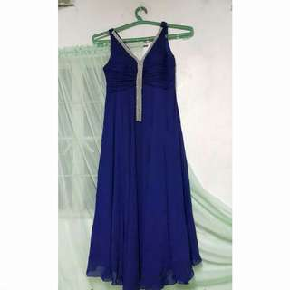 Navy Blue Embellished Long Gown