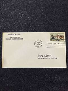 US 1964 American Artist Charles Russell FDC Stamp
