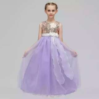Shimmering Sequinz Mesh lavender Flower Girls Wedding Long Gown Dress