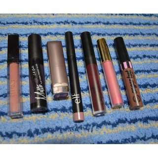 Used Ellana, La Girl, Maybelline, Elf, Colourpop, Gerard Cosmetics, PinkSugar Lippies