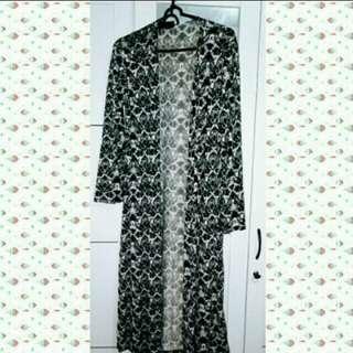black white long cardigan