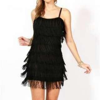 Preloved H&M Black Fringe Dress