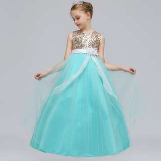 Shimmering Sequinz Mesh Turquoise Flower Girls Wedding Long Gown Dress
