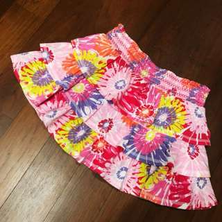 Multi-tiered Bright Floral Flare Skirt
