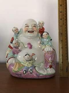 Jing De Zhen Laughing Buddha porcelain figurines collectible