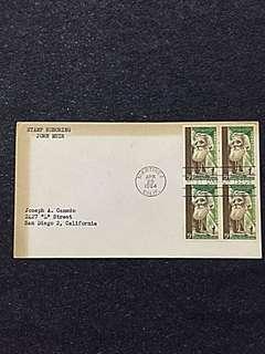 US 1964 John Muir Blk4 FDC Stamp
