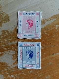 香港郵票全新1978年英女皇銀禧纪念郵票一套二全
