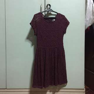H&M Divided Lace Dress (maroon) - US8