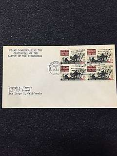 US 1964 Battle of the Wilderness Blk4 FDC Stamp