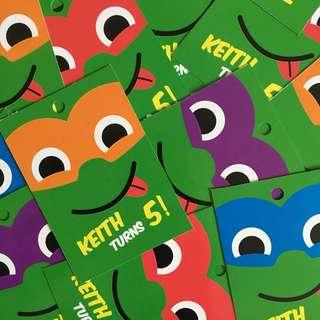 [$0.50/tag] Ninja Turtles TMNT Favour Thank You Personalised Tags