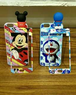 Softshell 3D peeking mickey/doraemon case + tempered glass