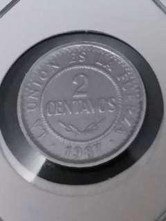 全新南美玻利維亞1987年2仙硬幣