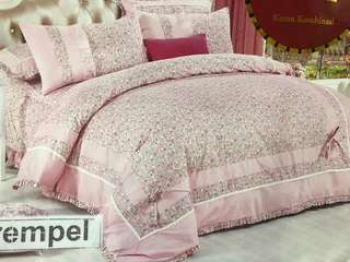 Bed Cover dan Sprei RUMBAI FULL COTTON Clarence Pink