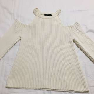 F21 White Cold Shoulder Knitted Top