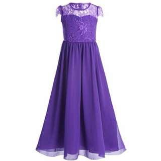 Lace Chiffon Girls Long Dress Gown Deep Purple Wedding Bridemaids 9-15YO